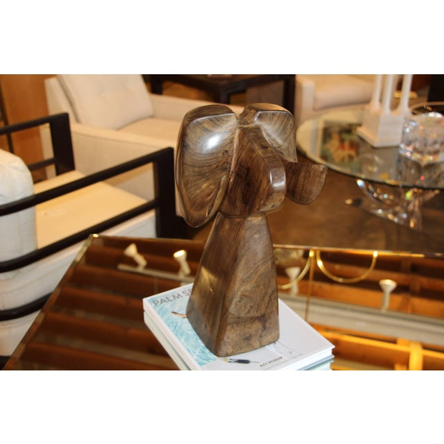 Wood Carved Abstract Big Horn Sheep Sculpture Monogrammed Ja For Sale In Palm Springs - Image 6 of 10