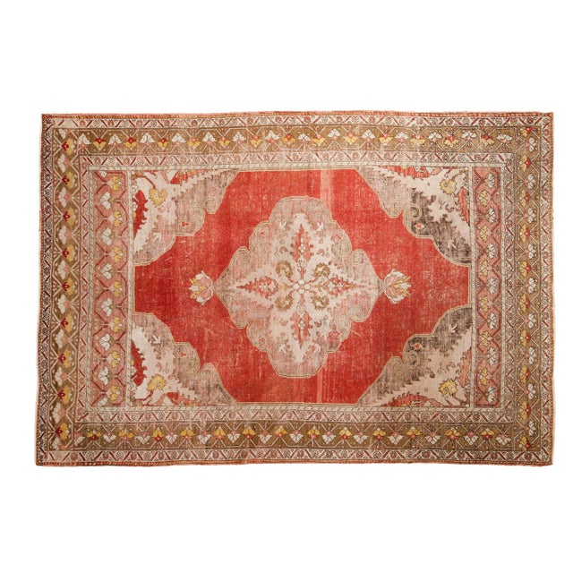 "Vintage Distressed Oushak Rug - 4'8"" X 6'10"" - Image 1 of 8"