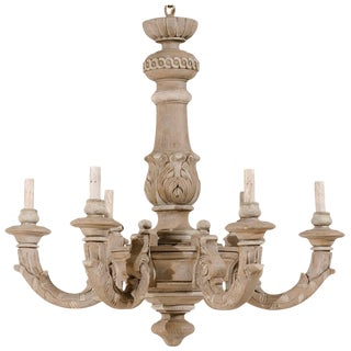 French Carved and Painted Taupe Colored Chandelier With Light Grey Accents For Sale
