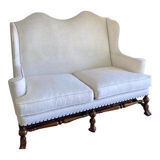 Ebanista William & Mary Walnut Wingback Sofa Settee by Alfonso Marina For Sale