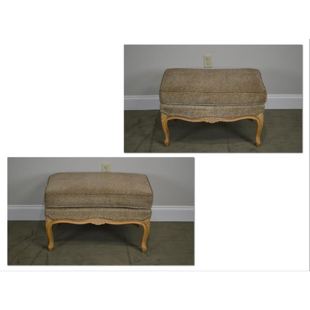 French French Louis XV Style Custom Upholstered Wide Seat Bergere Chair With Ottoman For Sale - Image 3 of 13