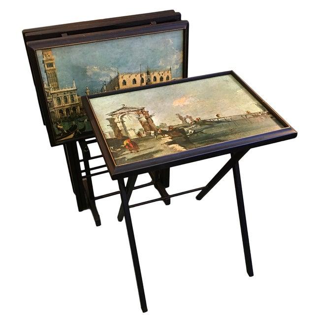Vintage Artex Green Tv Trays Set Of 4 Chairish