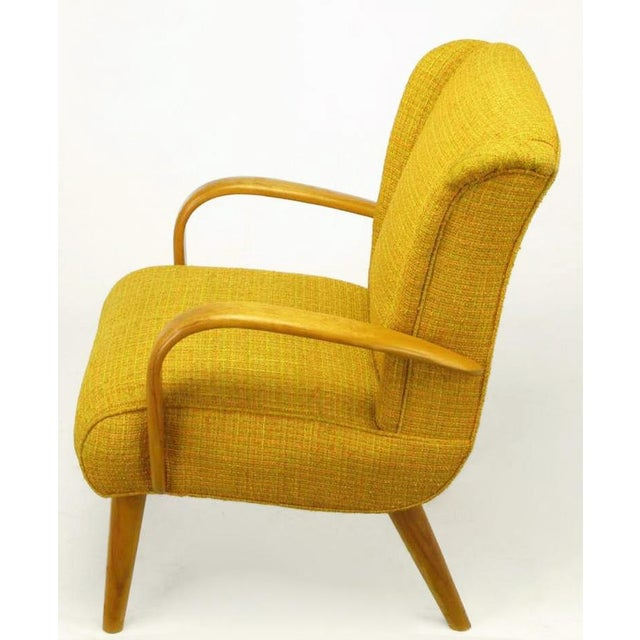 Heywood-Wakefield Circa 1940s Maple Wood & Saffron Upholstered Lounge Chair For Sale - Image 4 of 10