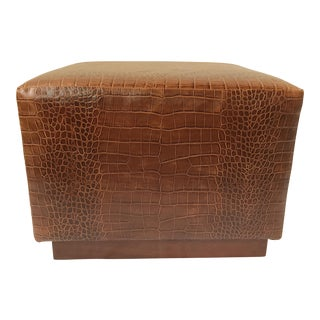 Ralph Lauren Home Modern Hollywood Embossed Leather Ottoman For Sale