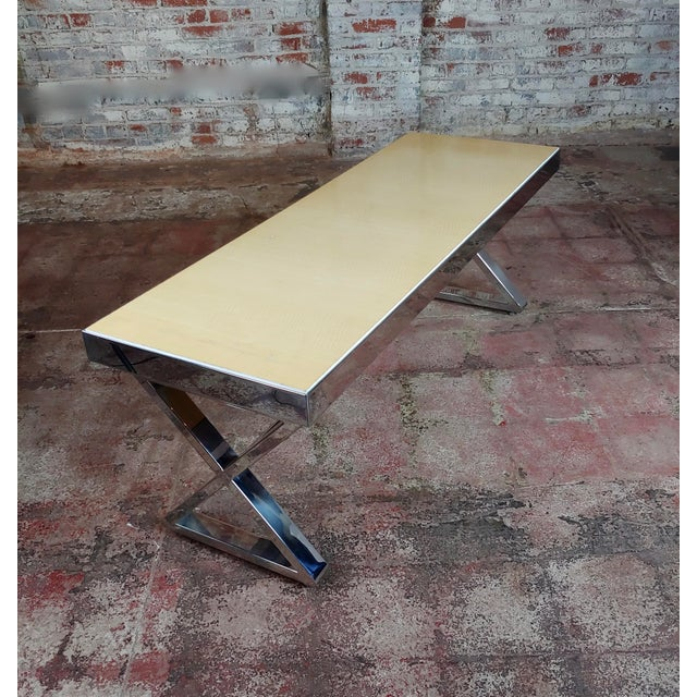 Beautiful Designer Chrome Coffee Table With Lacquered Wooden Top For Sale - Image 4 of 10