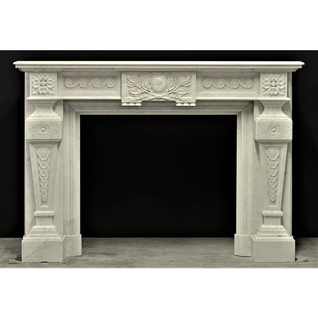 Very Rich Carved White Marble Louis XVI Fireplace For Sale - Image 6 of 6