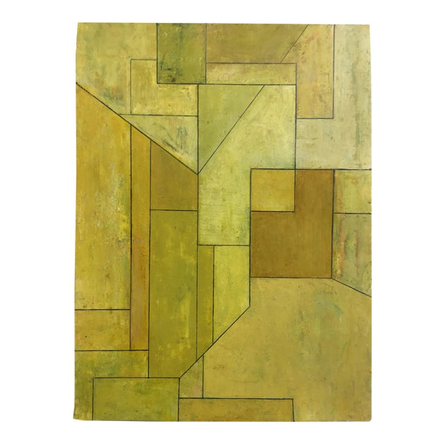 """""""Olive Tree"""" Geometric Abstract Painting on Paper by Stephen Cimini For Sale"""