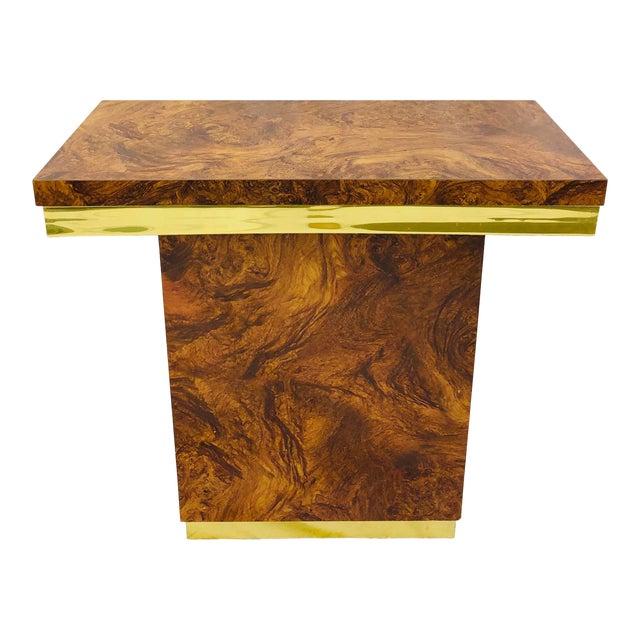 Vintage Modern Burl & Brass Table For Sale