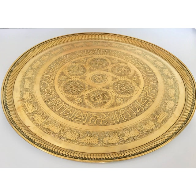 Indo-Persian Handcrafted Decorative Hammered Brass Tray For Sale - Image 13 of 13