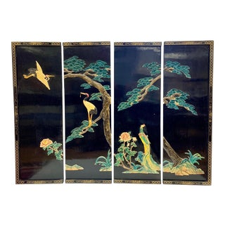 Asian Set of 4 Black Lacquer Birds Flowers Panels Artwork For Sale