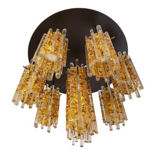 Amber Crushed Glass Tube Flush Mount Chandelier For Sale