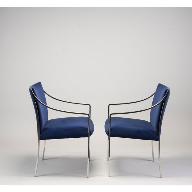 1970s Pair Bert England for Stow Davis Steel Frame Arm Chairs For Sale - Image 5 of 8