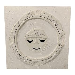 """Meditating Nova"" Contemporary Minimalist Plaster Painting For Sale"