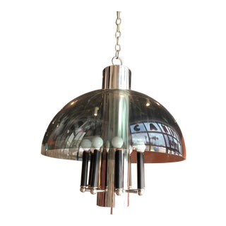 1960s Mid-Century Smoked Lucite and Chrome Pendant Light For Sale