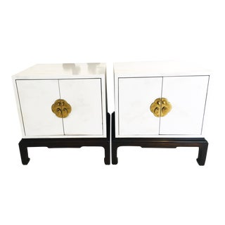 Vintage Hollywood Regency Asian Modern White Nightstands, - a Pair For Sale