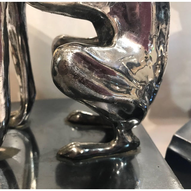 Silver 20th Century Art Deco Silver Plater Greyhound Bookend Sculptures - a Pair For Sale - Image 8 of 11