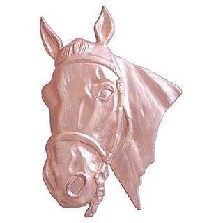 Mid-Century 1950s Brass Horse Relief Plaque