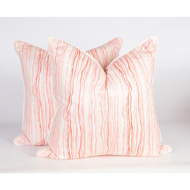 Abstract Pink Squiggle Pillows - a Pair For Sale - Image 4 of 5