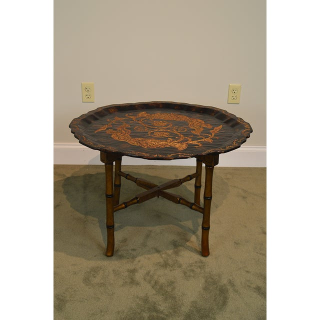 Black & Gold Crackle Painted Finish Pie Crust Tray Top Faux Bamboo Coffee Table For Sale - Image 4 of 13