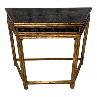 Vintage Chinese Hand-Painted Landscape Faux Bamboo Demilune Table For Sale