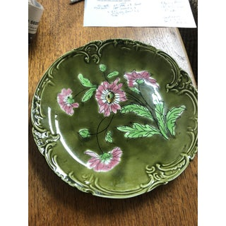 Vintage German Majolica Plates With Green and Pink Flowers - Set of 3 Preview