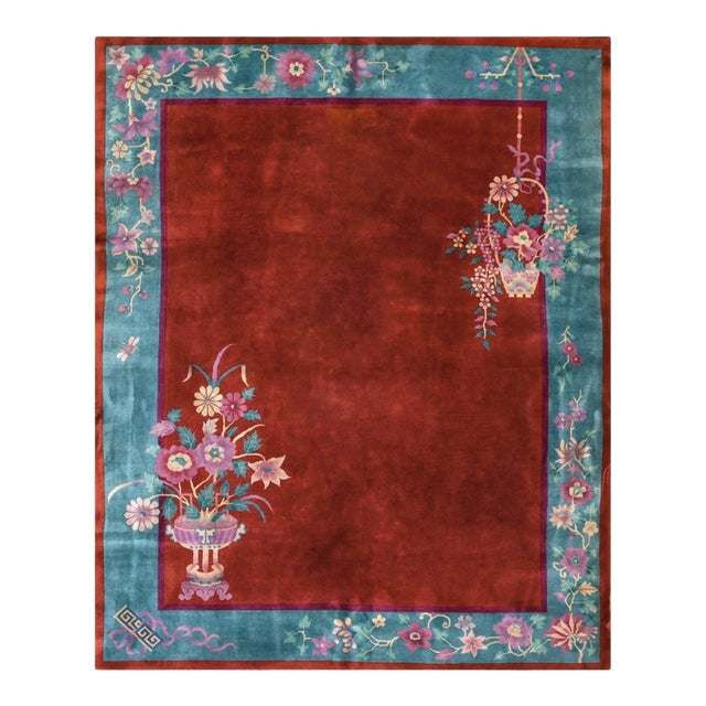 """Antiique Chinese Art Deco Rug 8'0"""" X 9'8"""" For Sale"""