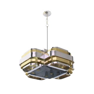 1970s Brutalist Paul Evans Style Brass and Chrome Chandelier For Sale