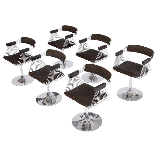 Rudi Verelst Space Age Swivel Armchairs in Chromed Steel For Sale