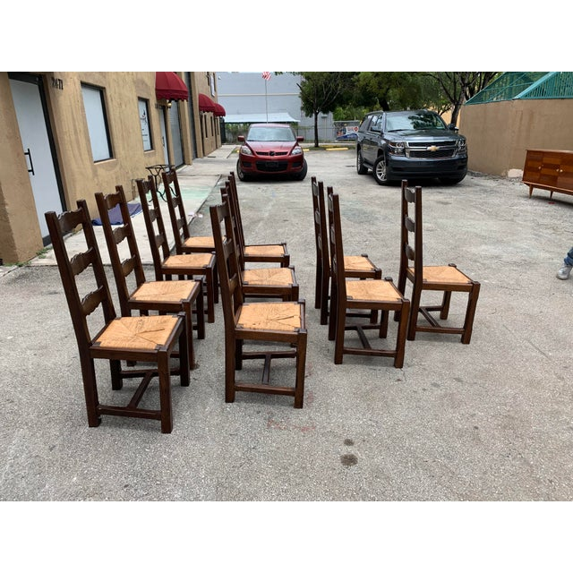 Wood 1910s French Louis Philippe Rush Seat Solid Walnut Dining Chairs - Set of 10 For Sale - Image 7 of 13