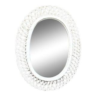 Vintage Franco Albini Bent Bamboo & Rattan Oval Mirror For Sale