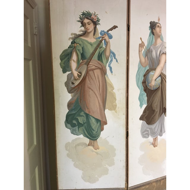 Antique Zuber Attr. Wall Paper Four Panel Screen - Image 8 of 11