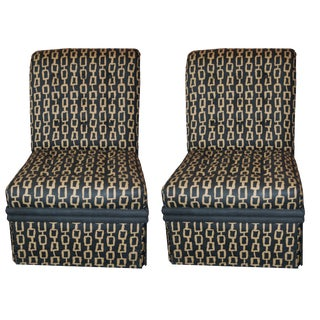 Mid-Century Custom Fabric Slipper Chairs - a Pair For Sale