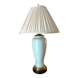 Wildwood Lamps Crackle Celadon Table Lamp in Hand Glazed Porcelain, Wood and Brass For Sale