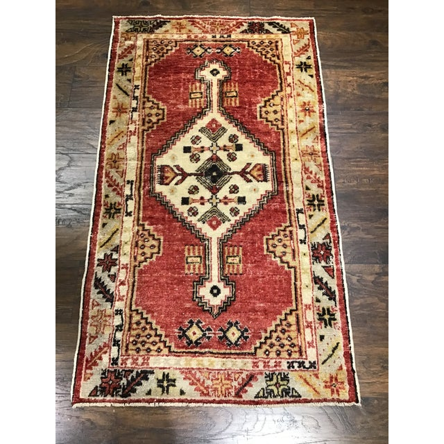 Ruby Red Late 20th Century Vintage Turkish Rug- 2′8″ × 4′9″ For Sale - Image 8 of 8