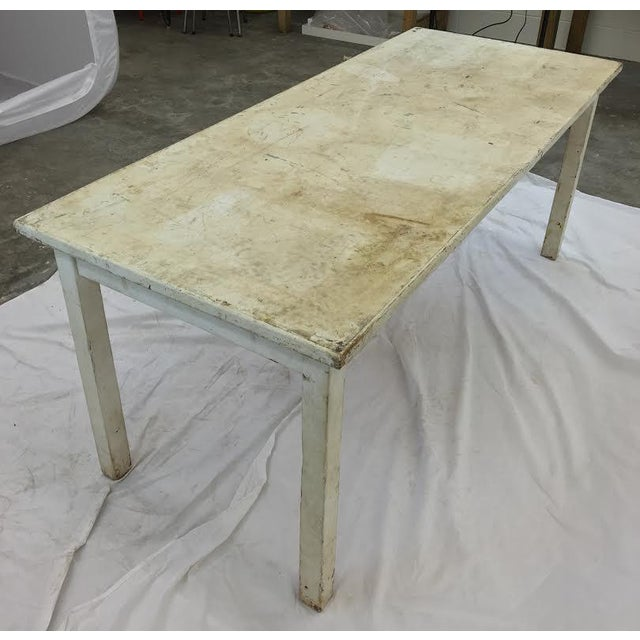 Vintage & Rustic White Wooden Factory Table For Sale In Raleigh - Image 6 of 6