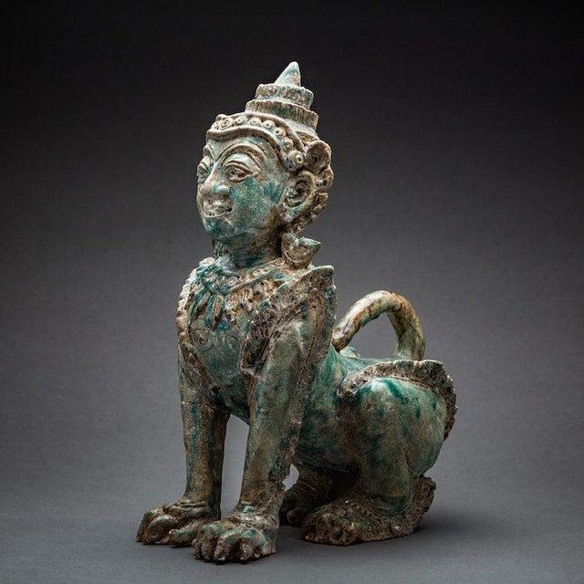 Khmer Glazed Terracotta Sphinx For Sale - Image 4 of 4