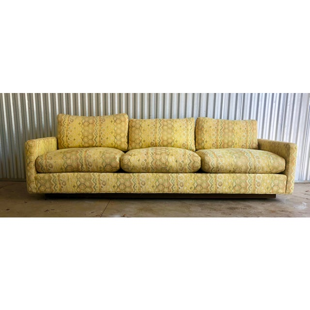 Yellow Milo Baughman for Thayer Coggin Woven Jacquard Sofa For Sale - Image 8 of 8