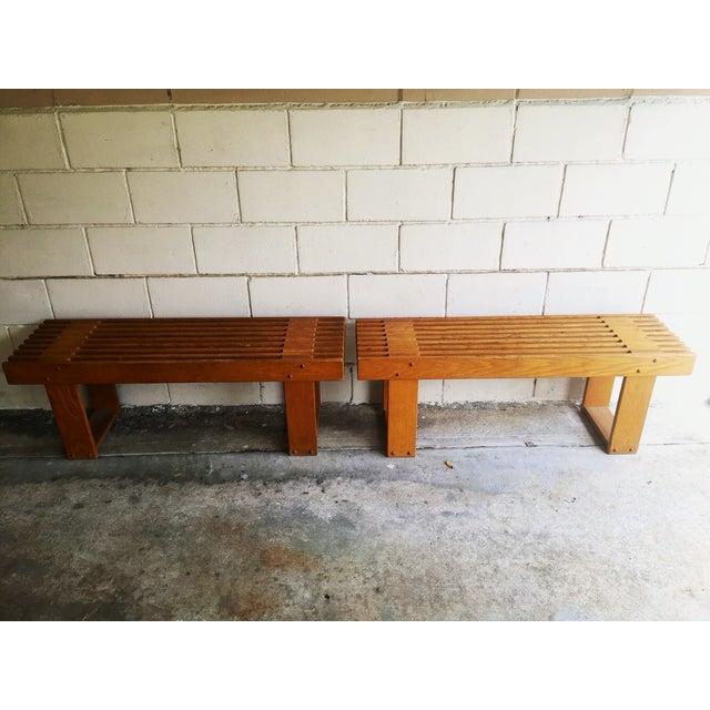 Vintage Oak Slatted Bench - Image 6 of 6