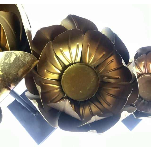 Gold Finish Tall Statement Lotus Design Candle Holders - Set of 3 For Sale In Boston - Image 6 of 10