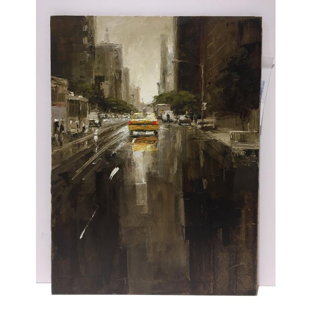 """Contemporary Beckham Oil Painting """"23rd Street, Yellow Taxi"""", Contemporary Cityscape For Sale - Image 3 of 7"""