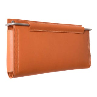 Moses Nadel Wall Pocket Saddle Leather and Stainless Steel For Sale