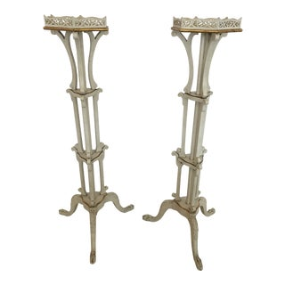 French Painted Ivory and Gilded Plant Stands -A Pair For Sale