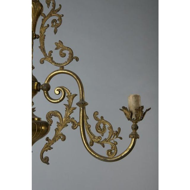 French Three Light Solid Cast Brass Chandelier For Sale In Detroit - Image 6 of 8