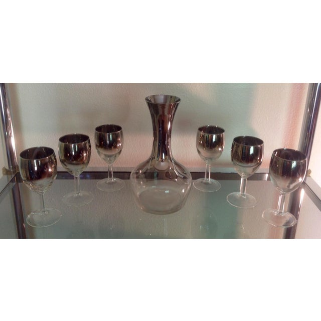 7-Piece Silver Ombre Spiral Decanter Set For Sale In Chicago - Image 6 of 6