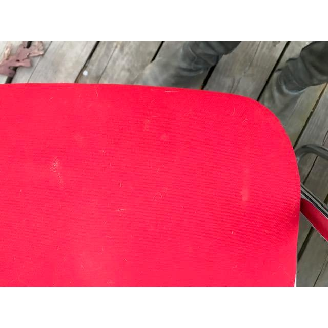 Vintage Chrome and Red Fabric Cantilever Steelcase Arm Chairs- a Pair For Sale - Image 9 of 10