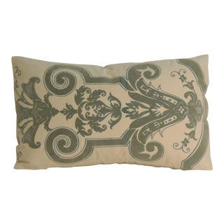 Vintage Verdigris Gaufrage Petite Lumbar Pillow For Sale