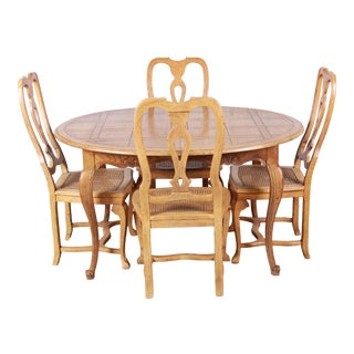 Baker Furniture French Provincial Louis XV White Oak Dining Set For Sale