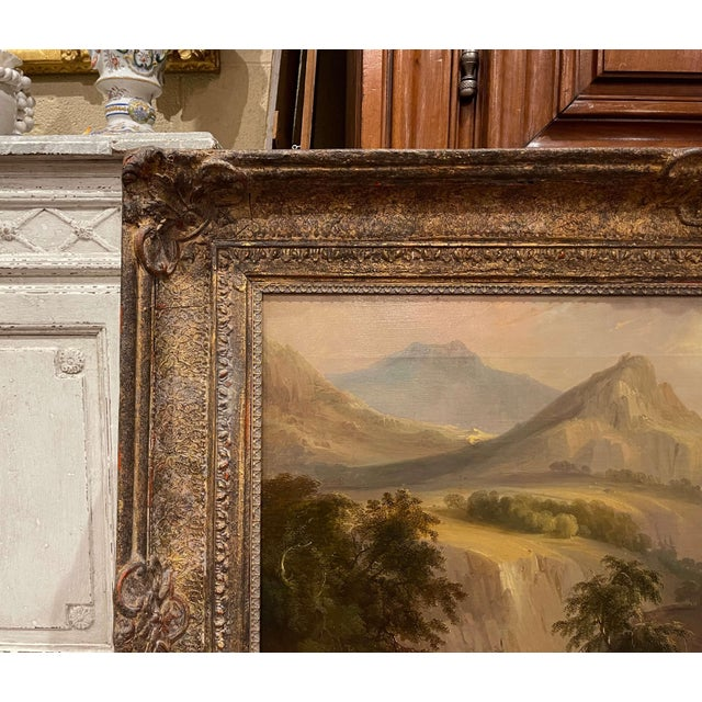 19th Century French Oil on Canvas Pastoral Painting in Carved Gilt Frame Signed For Sale In Dallas - Image 6 of 13