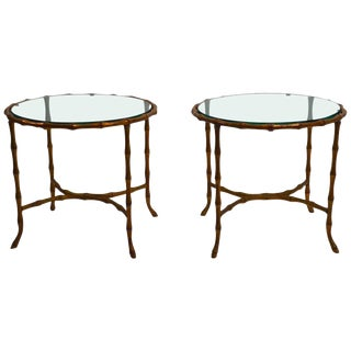 Pair of Brass Faux Bamboo Tables Attributed to Bagues For Sale