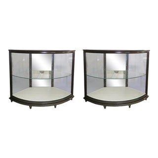 Curved Glass Showcases - a Pair For Sale